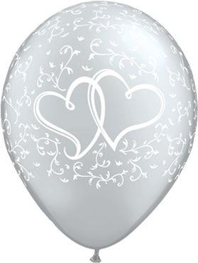 "Qualatex Latexballon Entwined Hearts Silver 28cm/11"" 25 Stück"