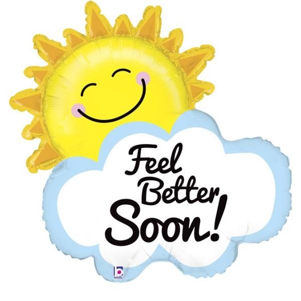 """Betallic Folienballon Feel Better Soon! Sonne mit Wolke 79cm/31"""""""