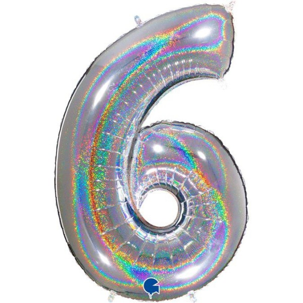 """Grabo Folienballon Zahl 6 Glitter Holographic Silver 100cm/40"""""""