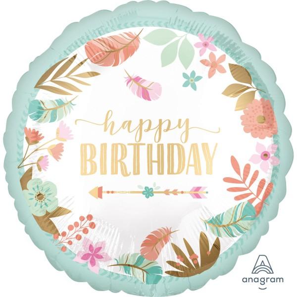 "Anagram Folienballon Rund Girl Satin ""Happy Birthday"" Türkis & Flower 45cm/18"""