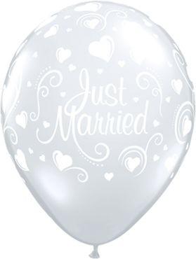 "Qualatex Latexballon Just Married Hearts Diamond Clear 28cm/11"" 50 Stück"