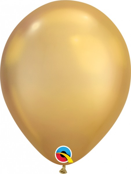 "Qualatex Latexballon Chrome Gold 18cm/7"" 100 Stück"