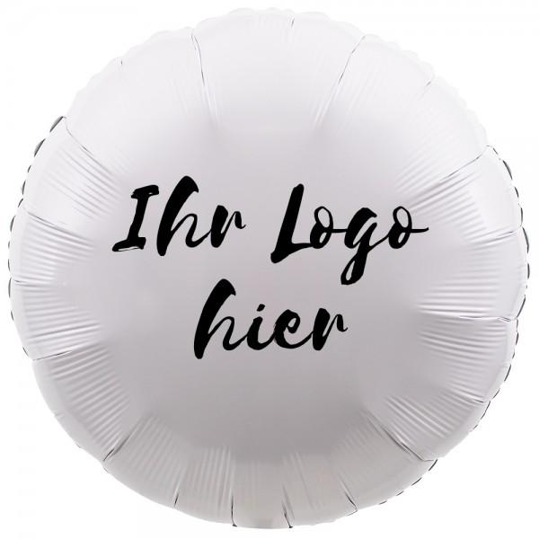 """Folien-Werbeballon Rund Metallic White 45cm/18"""" 1-Seitig bedruckt"""