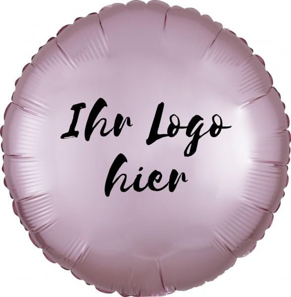 """Folien-Werbeballon Rund Satin Luxe Pastel Rose 45cm/18"""" 1-Seitig bedruckt"""