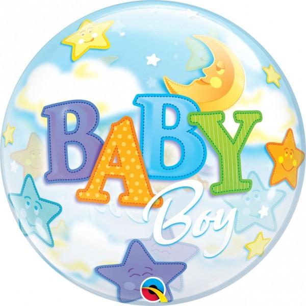 "Qualatex Bubbles Baby Boy Moon & Stars 55cm/22"""