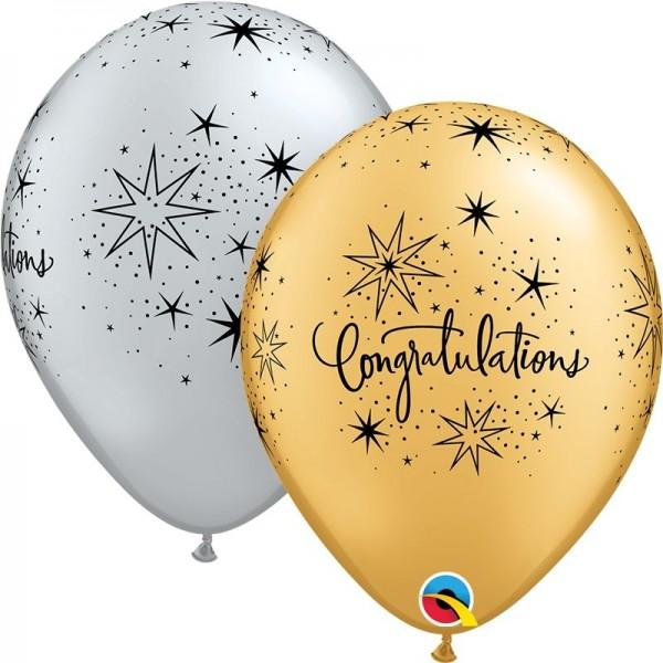 "Qualatex Latexballon Congratulations Elegant Silver & Gold 28cm/11"" 25 Stück"