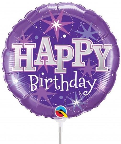 "Qualatex Folienballon Happy Birthday Lila 23cm/9"" luftgefüllt mit Stab"