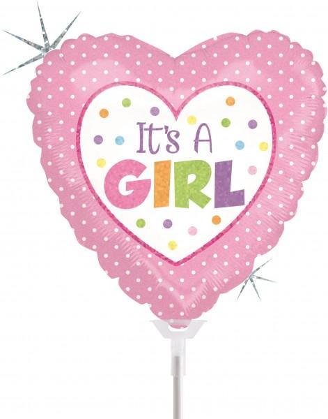 "Betallic Folienballon Baby Girl Dots Holographic 23cm/9"" luftgefüllt inkl. Stab"