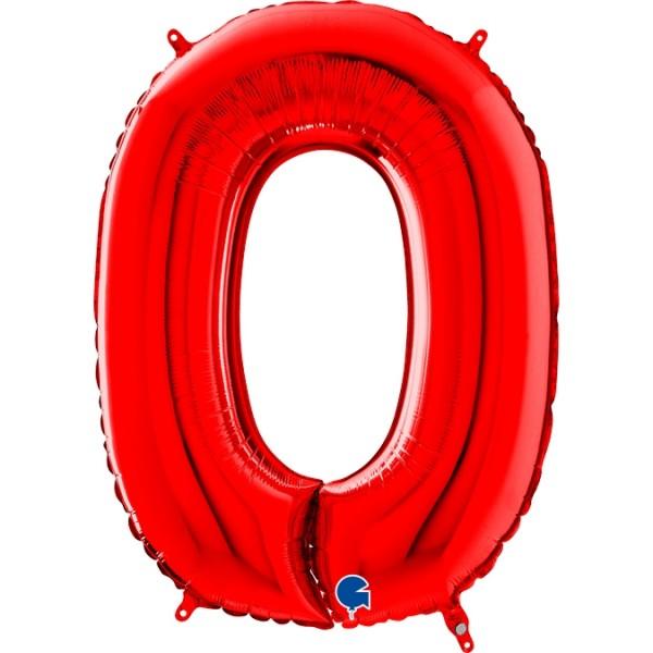 "Grabo Folienballon Zahl 0 Red 66cm/26"""