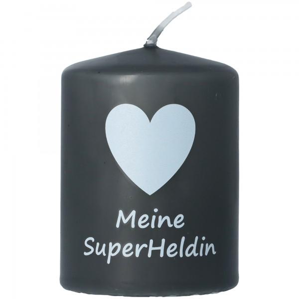 "Goodtimes Stumpenkerze Schwarz ""Meine SuperHeldin"""