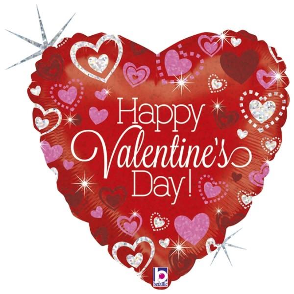 "Betallic Folienballon Sparkling Valentine's Day Holographic 46cm/18"""