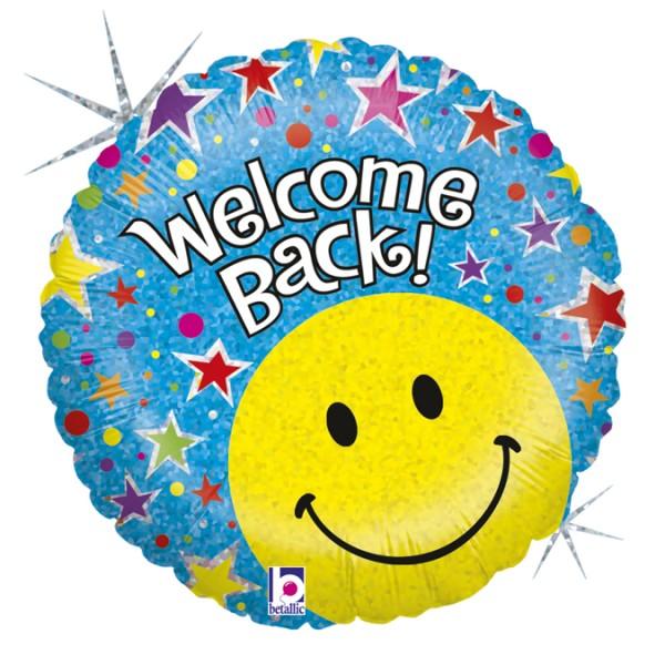 """Betallic Folienballon Welcome Back Smiley Holo 46cm/18"""""""
