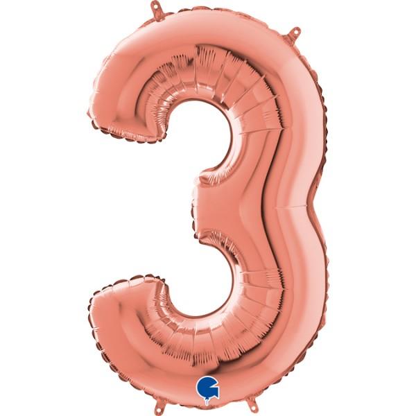 """Grabo Folienballon Zahl 3 Rose Gold 66cm/26"""""""
