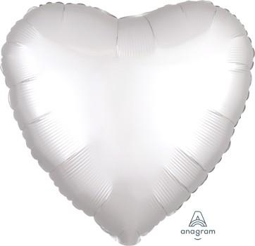 Anagram Folienballon Herz 45cm Durchmesser Satin Weiß (White)