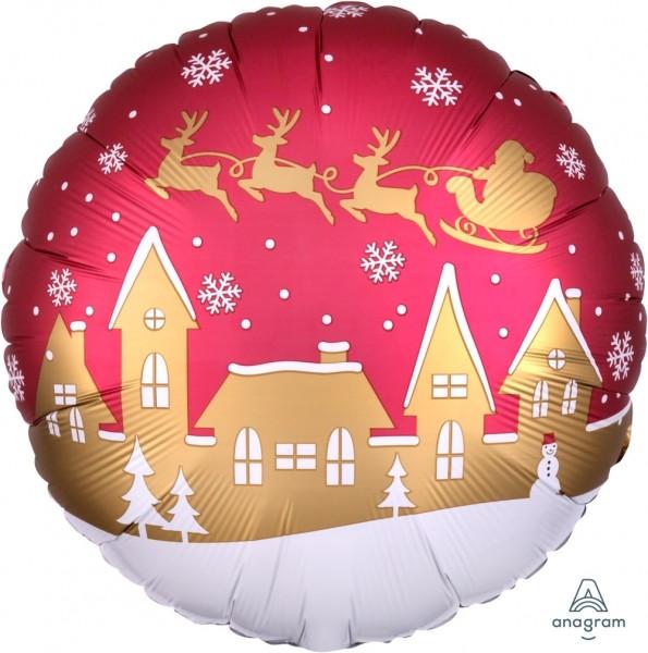 """Anagram Folienballon Rund 45cm Durchmesser Satin """"Santa Village"""""""