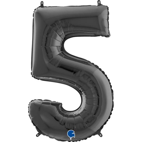 "Grabo Folienballon Zahl 5 Black 66cm/26"""
