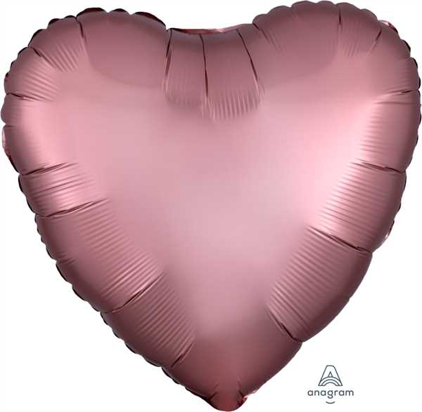 Anagram Folienballon Herz Satin Rosé Kupfer (Satin Rose Copper) 45cm/18""