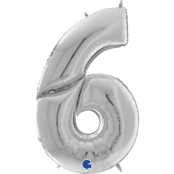 """Grabo Folienballon Zahl 6 Silver 160cm/64"""""""