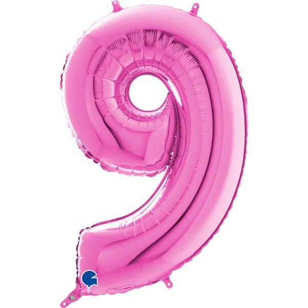 "Grabo Folienballon Zahl 9 Fuxia 66cm/26"""