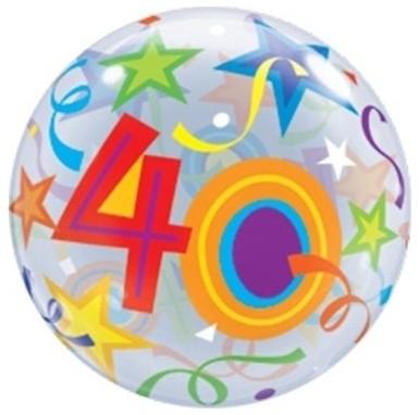 "Qualatex Bubbles 40 Brilliant Stars 55cm/22"""
