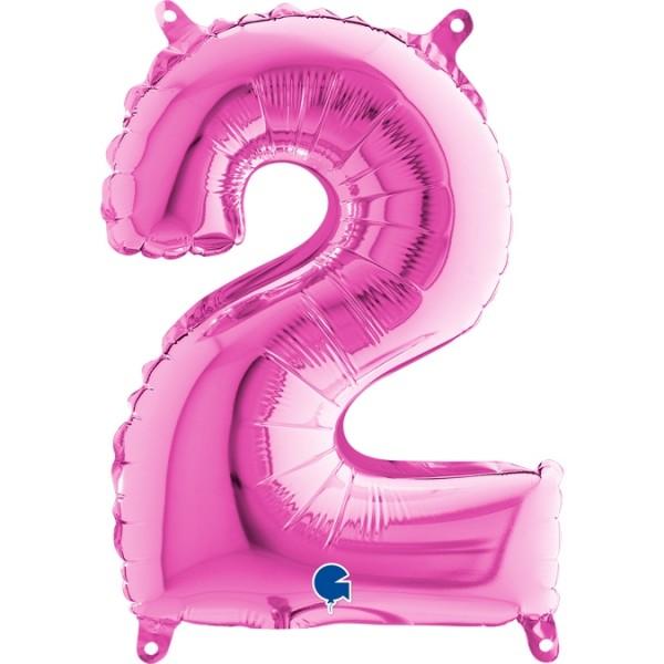 "Grabo Folienballon Zahl 2 Fuxia 36cm/14"""