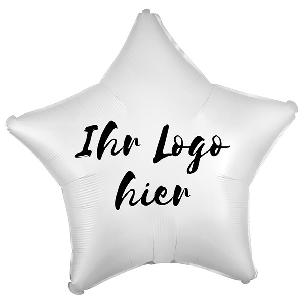 "Folien-Werbeballon Stern Satin Luxe White 50cm/20"" 1-Seitig bedruckt"