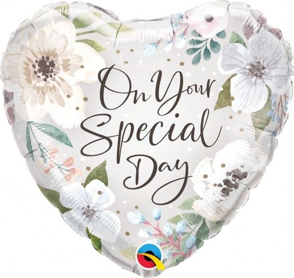 "Qualatex Folienballon Special Day White Floral 45cm/18"""