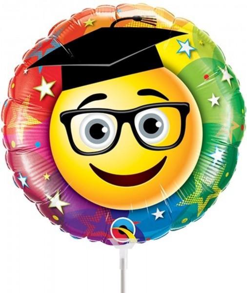 "Qualatex Folienballon Smiley Graduate 23cm/9"" luftgefüllt inkl. Stab"