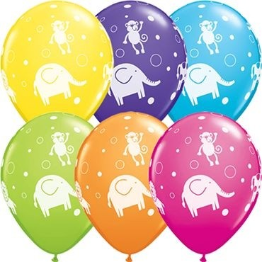 "Qualatex Latexballon Cute & Cuddly Jungle Animals Retail Sortiment 28cm/11"" 6 Stück"