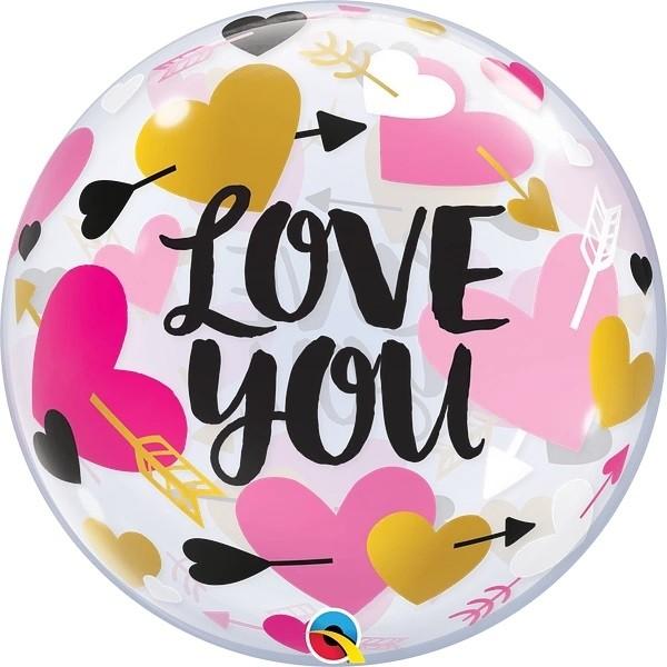 "Qualatex Bubbles Love You Hearts & Arrows 55cm/22"""