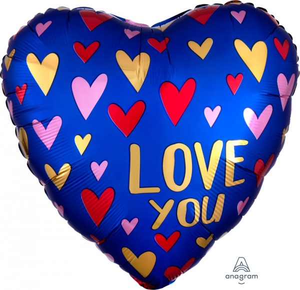 Anagram Folienballon Herz Satin Love You Navy & Gold 45cm/18""