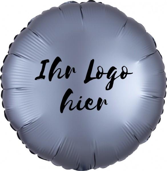"""Folien-Werbeballon Rund Satin Luxe Graphite 45cm/18"""" 1-Seitig bedruckt"""