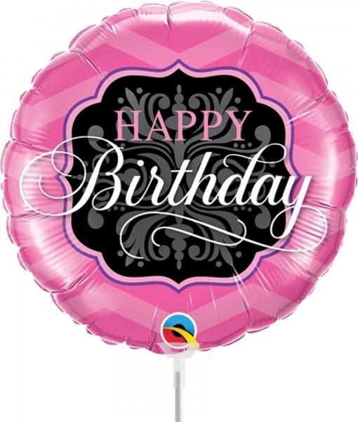 "Qualatex Folienballon Birthday Pink & Black 23cm/9"" luftgefüllt inkl. Stab"