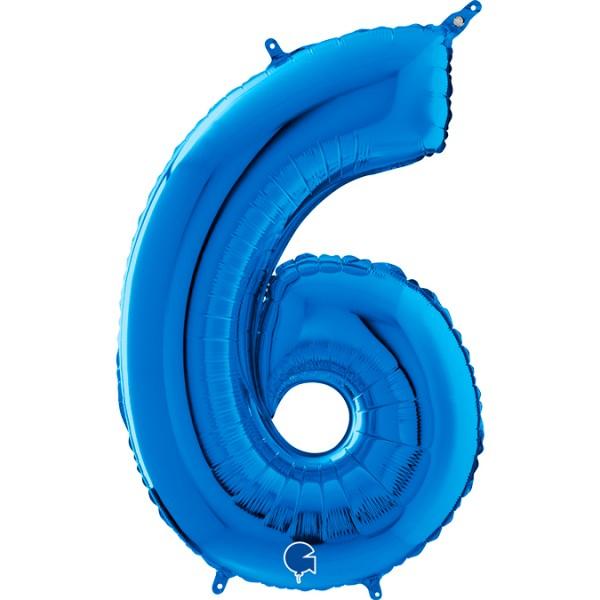 "Grabo Folienballon Zahl 6 Blue 66cm/26"""