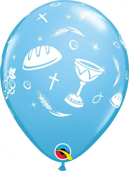 "Qualatex Latexballon Communion Elements Blau 28cm/11"" 25 Stück"