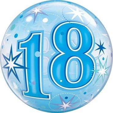 """Qualatex Bubbles 18 Blue Starburst Sparkle 55cm/22"""""""