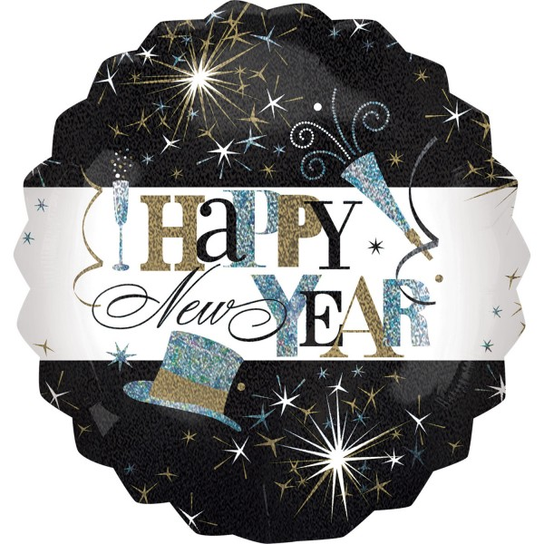 "Anagram Folienballon Rund ""Happy New Year!"" Elegant Celebration Holo 70cm/27"""