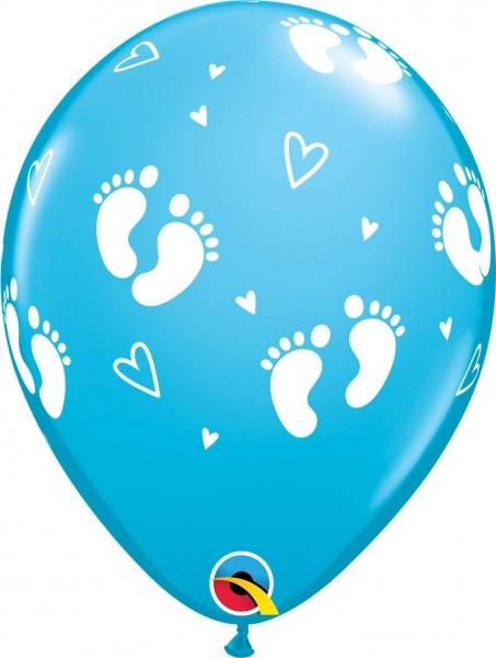 "Qualatex Latexballon Baby Footprints & Hearts Blue 28cm/11"" 6 Stück"