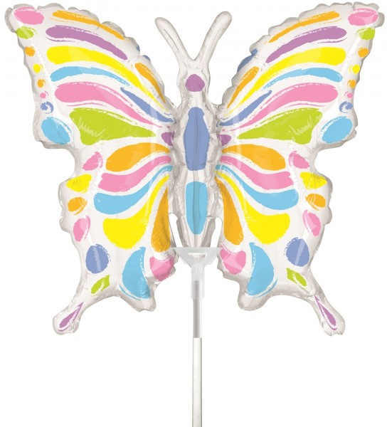 "Betallic Folienballon Pastell Butterfly Mini 35cm/14"" luftgefüllt inkl. Stab"