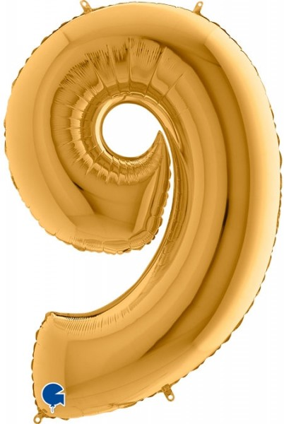 "Grabo Folienballon Zahl 9 Gold 100cm/40"""