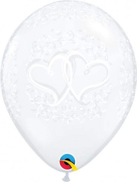 "Qualatex Latexballon Entwined Hearts Diamond Clear 28cm/11"" 50 Stück"