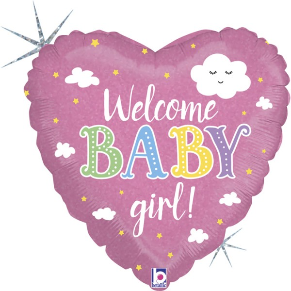 Betallic Folienballon Welcome Baby Girl Holo 46cm/18""