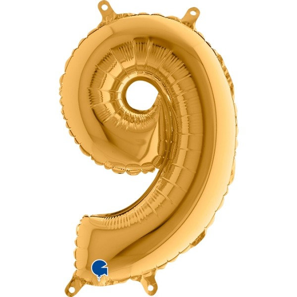 "Grabo Folienballon Gold 36cm/14"" Zahl 9"