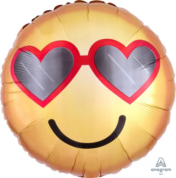"Anagram Folienballon Rund ""Heart Glasses"" Emoticon 45cm/18"""