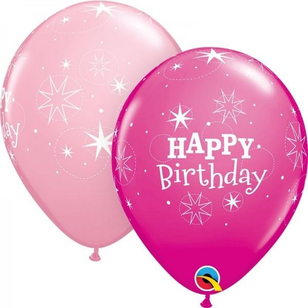 "Qualatex Latexballon Birthday Sparkle Assorted Pink & Wild Berry 28cm/11"" 25 Stück"