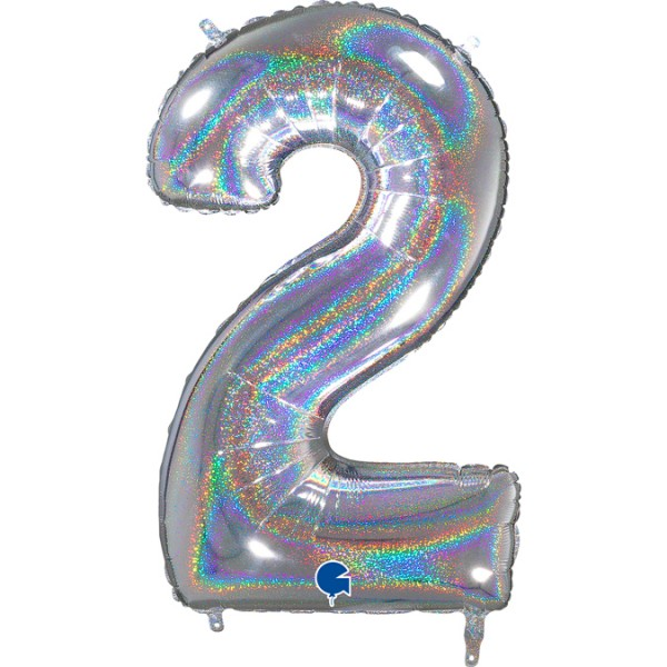 """Grabo Folienballon Zahl 2 Glitter Holographic Silver 66cm/26"""""""