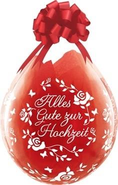 "Qualatex Verpackungsballon Alles Gute zur Hochzeit Roses Diamond Clear 45cm/18"" 25 Stück"
