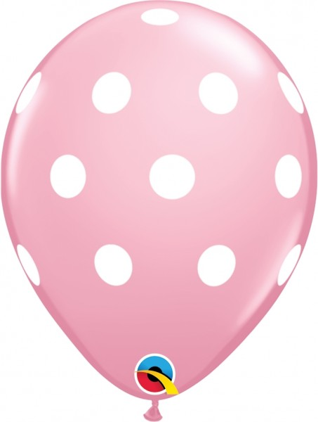 "Qualatex Latexballon Big Polka Dots Pink 28cm/11"" 6 Stück"
