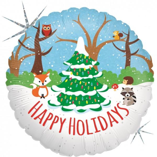 "Betallic Folienballon Woodland Holidays Glitter Holographic 45cm/18"""