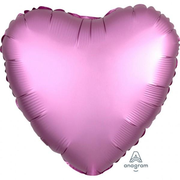 "Anagram Folienballon Herz Satin Rosa (Flamingo) 45cm/18"""